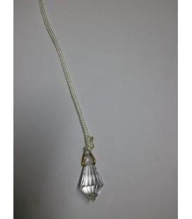 Péndulo ovalado cristal, mediano con cordón y anilla