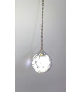 Péndulo bola cristal grande, con cadena plateada
