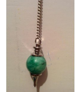 Péndulo esférico de amatista verde , con punta de metal y cadena con anilla