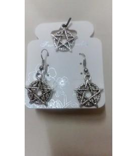 Tetragramatón 2 piezas (pendientes y colgante) conjunto
