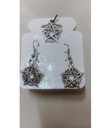 Tetragramatón 2 piezas (pendientes y colgante) conjunto al por mayor