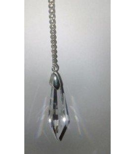 Péndulo lágrima cristal grande, con cadena