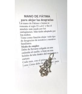Mano de Fátima con instrucciones