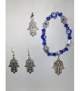Mano de Fátima 3 piezas, pendientes, colgante plateado, pulsera cristal ojos turcos