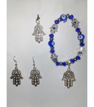 Mano de Fátima 3 piezas, pendientes, colgante plateado, pulsera cristal ojos turcos al por mayor