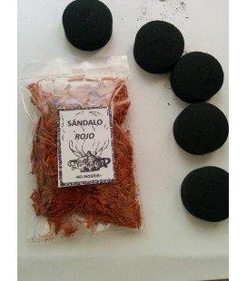 Sándalo rojo, ( 30 gr aprx ) AGOTADO con 5 carbones instantáneos Kid