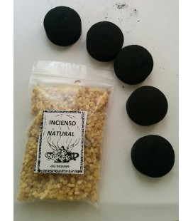 Incienso natural en grano ( 50 grs aprx ) con 5 carbones instantáneos Kid