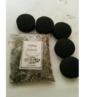 Copal en grano ( 50 gr aprx ) con 5 carbones instantáneos Kid