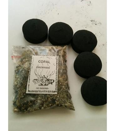 Copal en grano ( 50 gr aprx ) con 5 carbones instantáneos Kid al por mayor