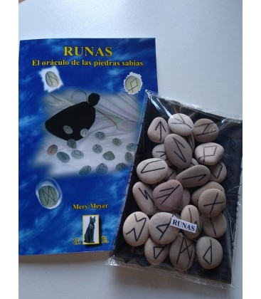 PACK runas: libro+ runas de piedra de rio al por mayor
